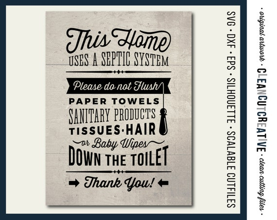 Svg Bathroom Sign Septic System Do Not Flush Bathroom Svg