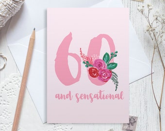 Personalised 60th birthday card, 60 birthday card, happy 60th birthday, personalised birthday card