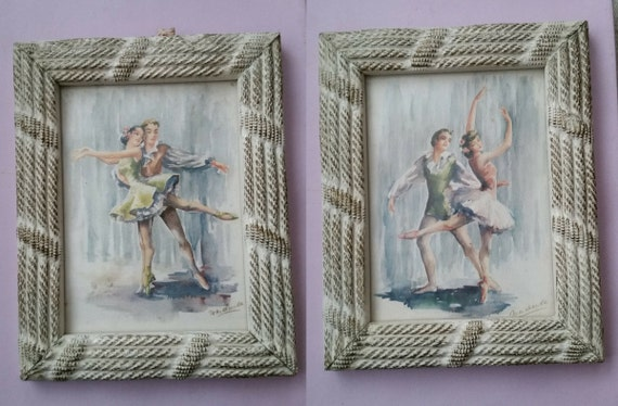 Pair of 1950's Lithographs - Ballet Dancers by Marchaude | Vintage White Shabby Chic Frames | Male + Female Ballerina