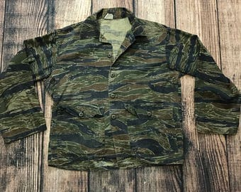 Vintage Tiger Camo Jacket Sz M BDU camoflage vtg military