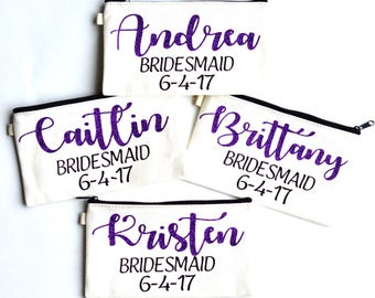 Maid of honor makeup bag, wedding day makeup, cosmetic bag, personalized bridesmaid gifts