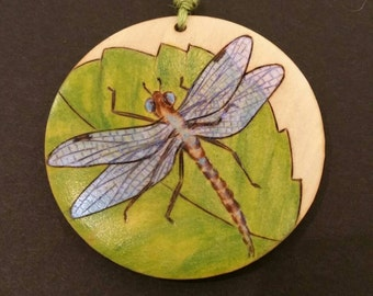 Mother's day gift, Unique dragonfly pendant, woodburned nature inspired jewelry, gift for her, Valentine