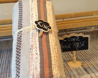 Catalonia bed King Brown and beige Earth completely handwoven as used on the loom to woven