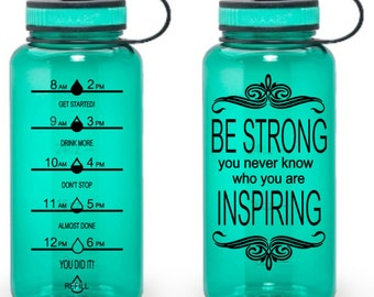 Be Strong You Never Know Who You Are Inspiring, 34oz Motivational Water Bottle, Water Tracker, Exercise Water Bottle, Fitness Tracker