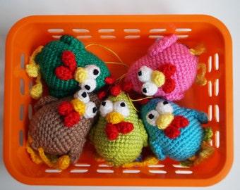 Easter decoration Easter chicken Easter gift Crochet chicken Baby chicken Easter decor rooster figurine Stuffed bird Bag Charm Farm animal