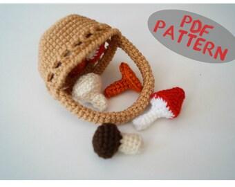 Crochet pattern Crochet Basket with mushrooms pattern PDF only Play food amigurumi pattern PDF Pattern Toy Gift tutorial Toy Food