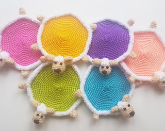 Gift for mom Crochet Coasters sheep Amigurumi lamb Cups Crochet Home Accessories Kitchen Accessories Handmade Coasters table decor gift idea