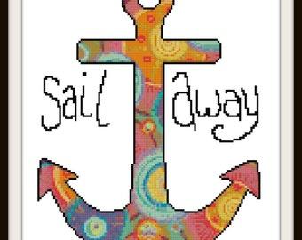 Nautical Cross Stitch Pattern - Sail Away to the Sea - PDF Download