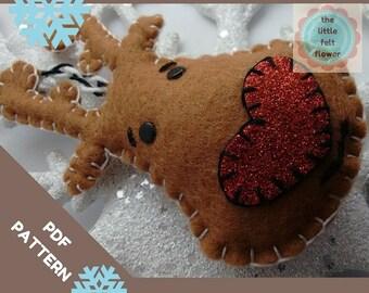 Felt Pattern-Reindeer Pattern-Reindeer Felt Pattern-Felt PDF Pattern-Felt Reindeer-Felt Christmas Patterns-Felt Christmas Ornament pattern