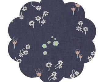 Floral denim fabric supply. Disty abrasion print denim supply. Apparel demin by the yard supply. DIY sewing denim fabric supply.