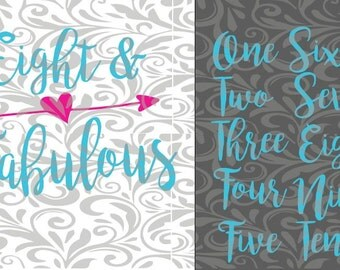 Fabulous birthday design.  One & Fabulous, Two...etc  SVG Cut FIle.