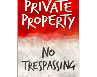 """No Trespassing Private Property Novelty Metal Sign 6"""" X 9"""""""