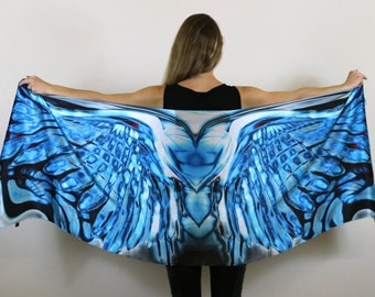Angel wing, Silk scarf ,Long Scarf, Summer Scarf,Wrap Scarf,Wing Scarf,Art Scarf,Gift for Her,Unique,Scarf Art,Wing on Wrap,Over Size Scarf