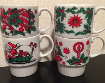 Vintage Christmas stackable mugs marked SY Japan