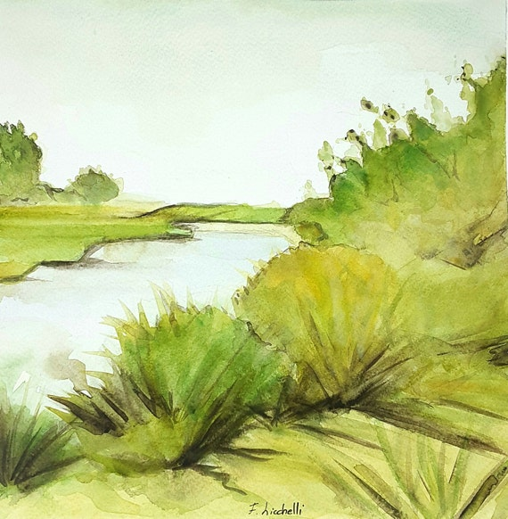 Watercolor,river landscape,meadow,ooak,one of a kind,30x30 cm./12x12 Inc.,Wall art,living, bedroom, kitchen, gift idea, birthday, Christmas.
