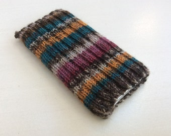 Knitted iPhone sock for 7, 6 or 6S, smartphone cover case, brown rust pink blue