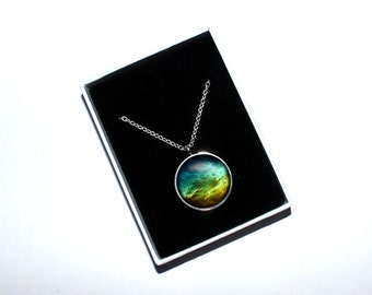 Galaxy necklace, Space necklace, Galaxy pendant, Nebula, Gift for space lovers, Solar system, Science jewelry, Space themed science gift
