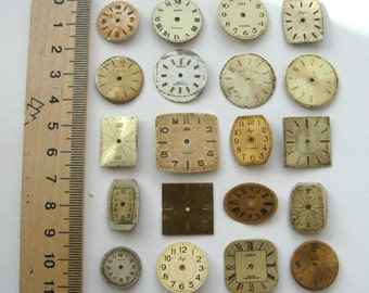 20 pieces. Watch Face Dials, From Old Watch Parts, For Steampunk Altered Art Gear, or ScrapBooking