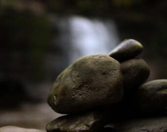 Macro Shot of Rocks & Waterfall Print