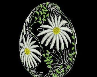 E002 Easter egg flowers - Machine Embroidery Design, two sizes, 4х4, 5х7