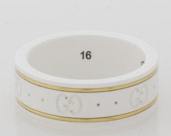 Gucci-Icon-White-Ceramic-18k-AU-750-Yellow-Gold-trim-ladies-ring-size-7.5