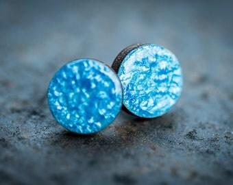 Blue round stud earrings, blue painted posts earrings, geometric earrings, wood stud earrings, boho stud earrings, wood jewelry, round studs