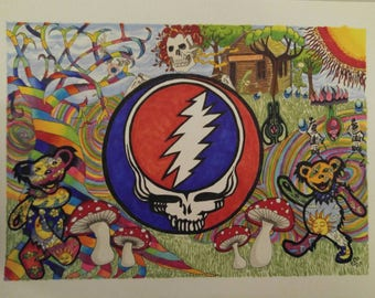 "Limited Edition 11x15 signed, numbered prints of ""Grateful Dead Compilation"""