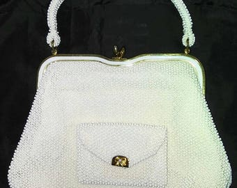 Vintage 1950's Lumured Petite-Bead Cream color handbag and coin purse... Made in U.S.A.