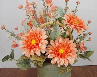 Silk Arrangement of Peach Gerberas, Peach Orchids, Peach Wildflowers in Handmade Pottery