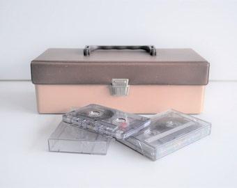 vintage cassette tapes holder. cassette box. cassette tapes case. retro brown beige tapes holder. space for 12 cassette tapes. metal clip.