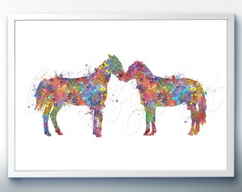 Horse Kissing Art Print  - Home Living - Animal Painting - Horse Poster - Wall Decor - Home Decor - House Warming Gift