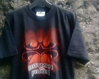 Vintage 1995 Batman & Robin Tshirt Movie World WB. Mens Medium