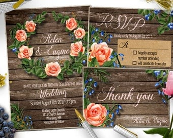 Rustic Wedding Invitation Template - Country Wedding Template - Rustic Invitation Wedding Template - Instant Download Printable Invitation