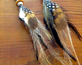 Natural clustered feather earrings