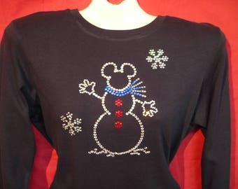 Mickey Mouse Snowman Christmas Rhinestone crystal womens Disney World shirt. SHORT LONG Sleeve Misses S, M, L, XL, Plus size 1x, 2X, 3X