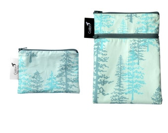 Ready to ship - Mini wet dry wet bag and matching Pocket Wet Bag with zipper and PUL liner great for cloth pads