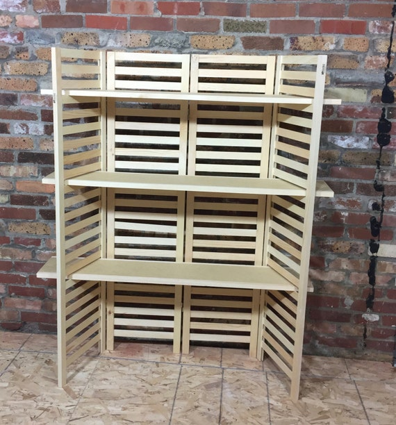 Portable Exhibition Shelves : Portable display shelving unit four panel with