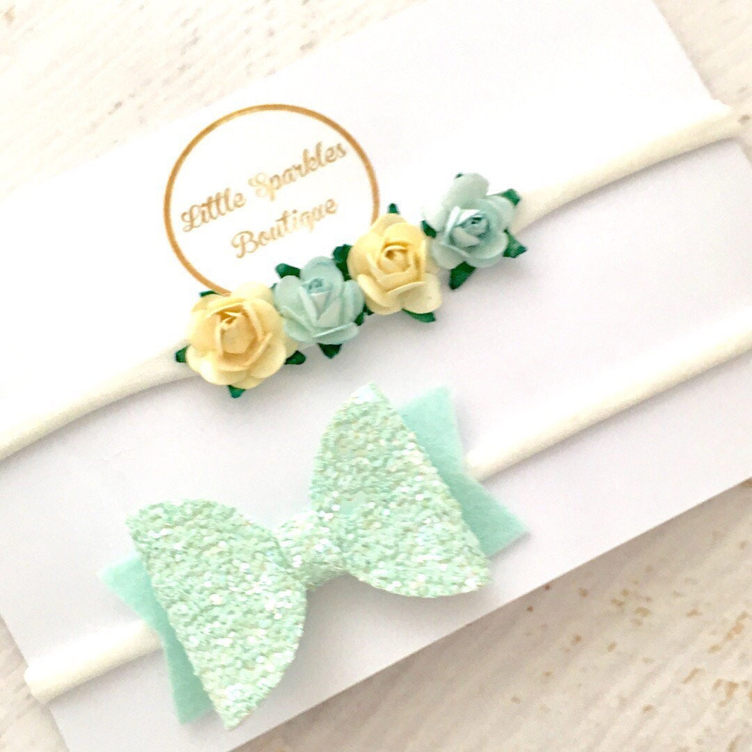 Mint Hair Bow Mint Glitter Bow Flower Headband Blue Flower