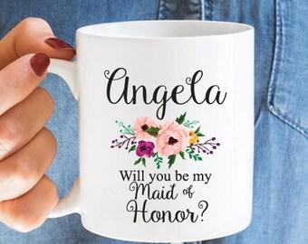 Will You Be My Maid of Honor Personalized Coffee Mug - White Coffee Mug -  Bridal Shower Gift - JM2930-9