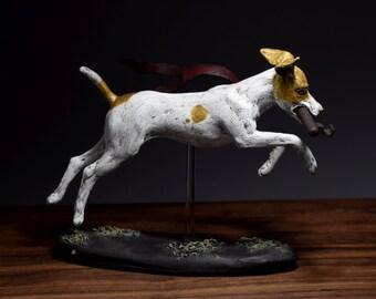 Unique dog sculpture, dog figurine, puppy, Jack Russell sculpture, animal figurine, small animal decor, statuette, modern dog art