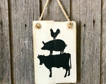 Chicken Pig Cow Pyramid Recycled Timber Sign