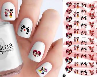 Mickey & Minnie Love Nail Decals (Set of 54)