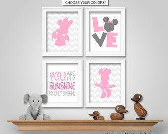 PRINTS or CANVAS or Printable Digital Download - Minnie Mouse Nursery Bedroom  Wall Art - Minnie Mouse Wall Decor