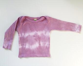 natural dye organic cotton long sleeve shirt, baby girl gift, hand dye, organic baby