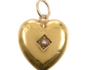 Antique 15KT Gold and Pearl Heart