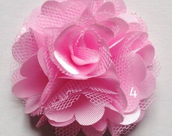 2 inch across shabby fabric flowers set of 2 pink color