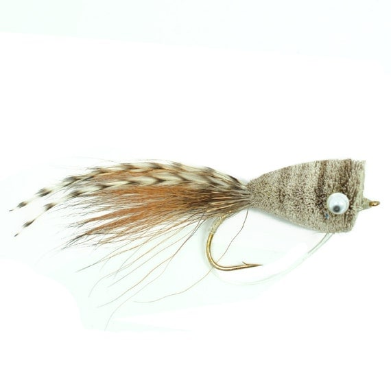Bass Fly Fishing Bug: Deer Hair Popper Natural/Grizzly - Hook Size 6 - Premium Wide Gape Bass Hooks With Weed Guard