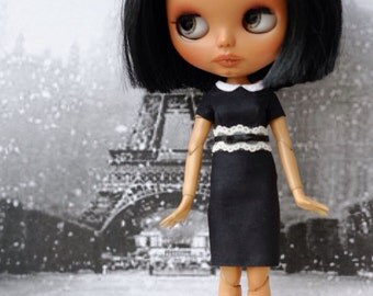 Black dress with white detail for Blythe doll or similar bodies