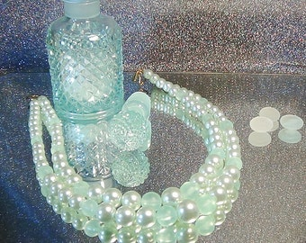 Soft and stunning pale aqua double stranded pearl necklace.