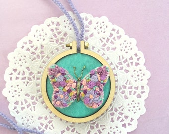 3D Butterfly Necklace, Mini Embroidery Hoop Jewelry, Butterfly Pendant, Hand Embroidered Pendant Necklace, Statement Necklace, Gift for Her